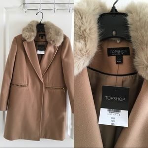 Topshop camel coat size 2